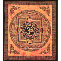 Orange Tibetan Style Aum OM Yoga Tapestry, Tie Dye Tapestry Wall Hanging Bedding on RoyalFurnish.com