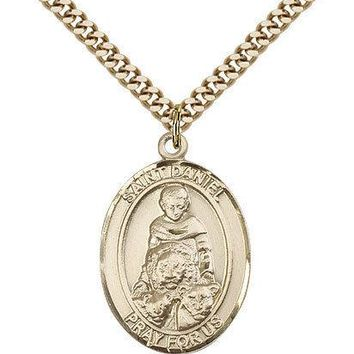 "Saint Daniel Medal For Men - Gold Filled Necklace On 24"" Chain - 30 Day Money... 617759463385"
