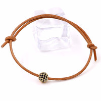 Leather Rope Bracelet & Bangle Pave Star Cubic Zirconia Beads DIY Jewelry
