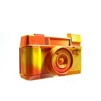 retro camera, graffiti art, altered object, yellow, neon, orange, paint splatter, 80s, hipster, vintage camera, home decor
