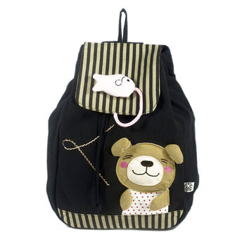 Bear & Fish 100% Cotton Fabric Art School Backpack / Outdoor Backpack