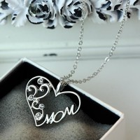 "Korean mother and child love ""Mom"" crystal pendant necklace Mother's Day gifts sweater chain necklace for mother"