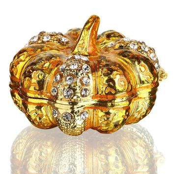 H&D Bejeweled Pumpkin Trinket Boxes Ornament Crystal,Hand-painted Patterns Jewelry Trinket Box Hinged Collectible Gifts For Lady