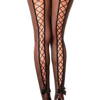 Black Lace Up Back Fishnet Pantyhose-Out of Stock