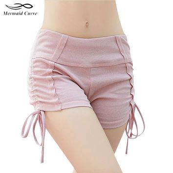 Mermaid Curve Stripe Lace-Up Women Yoga Shorts Tight Sports Running Gym Yoga Fitness Workout Shorts Outdoor Running Women Shorts