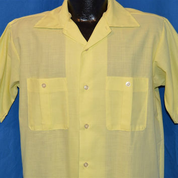 70s Yellow Large Collar Deadstock Button Down Shirt Medium
