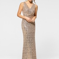 Rose Gold Center Twist Gown - Dazzling Embellishments - Prom