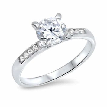 1.75ctw Women's Round Solitaire CZ Sterling Silver Wedding Band Engagement Ring
