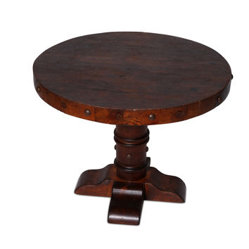 Small Round Pedestal Side or Cocktail Table in Dark Walnut