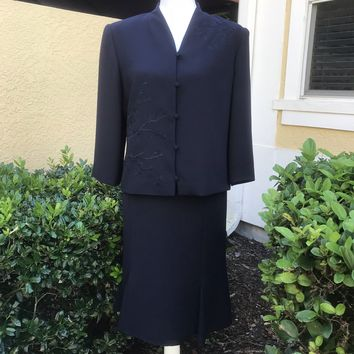 TALBOTS Women's Embroidered Beaded Navy Blue Skirt Suit 2 Pc. Set Size 12
