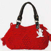 BAG // Red Handbag- Celebrity Style With Genuine Leather Handles- shoulder bag- crochet bag hand made