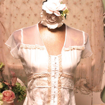 White Corset Top   Rustic Cowgirl Clothes   Sheer Lace Blouse   Boho Chic Top   Silk Shirts   Shabby Top   Victorian Cottage Clothes   Small