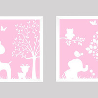 White on Baby Pink Enchanted Forest Animals CUSTOMIZE YOUR COLORS, 8x10 Prints, set of 2, nursery decor nursery print art baby room decor