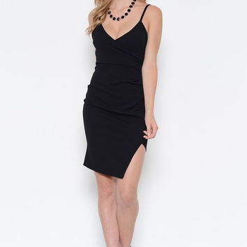 BLACK SATIN STRAP DRESS