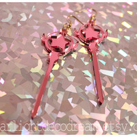 Cardcaptor Sakura Clow Wand Inspired Acrylic Earrings for Mahou Kei, Magical Girl Fashion