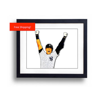 Derek Jeter New York Yankees Shortstop Final Game At Bat Walk Off Comic Book Style Man Cave Baseball Art Print Poster Gift