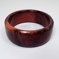 Large Wide Orange and Brown Vintage Lucite Bangle Bracelet, Mid Century 1960s 60s, Fall Jewelry, Glam Fashion