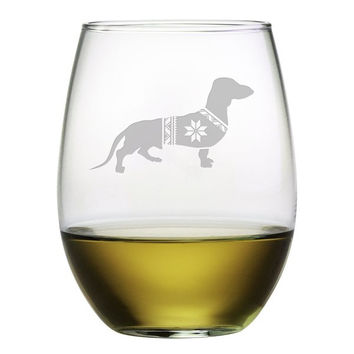 Festive Dachshund Glasses - Set of 4