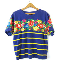 Purple TShirt FLOWER Print tee Shirt 90s Grunge Tee retro Top Floral Shirt ROSES graphic Top Yellow Stripes Vintage Medium