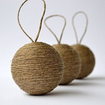 Natural Jute Rope Wrapped Christmas Hanging Ornaments, Set of 6