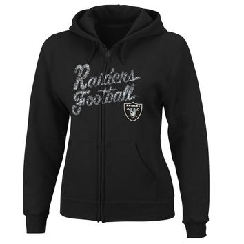 Oakland Raiders Women's Football Classic Full Zip Hoodie - Black