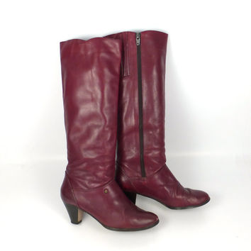 Etienne Aigner Boots Leather Vintage 1980s Burgundy Oxblood Leather Women's size 8