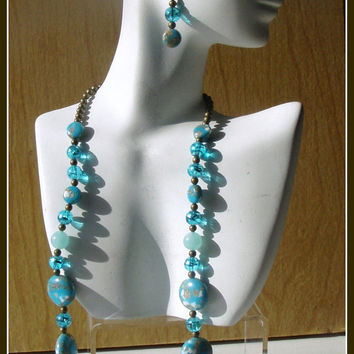 Turquoise Beaded Necklace And Earrings  Both for 30 Dollars