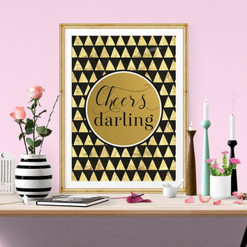 Cheers Darling PRINTABLE Art, Gold Printable Wall Art, Black & White Stripe, Bar Cart Art, Bar Accessories, Bar Art, INSTANT DOWNLOAD