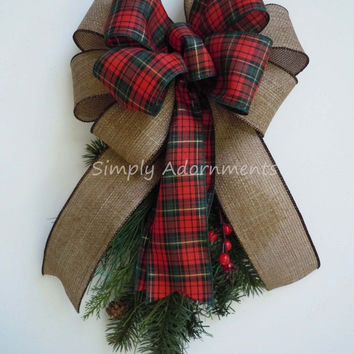 Tartan Woodland Christmas Bow Rustic Burlap Plaid Christmas Bow Red Green Tartan Christmas Wreath Swag Bow Christmas Gift Bow