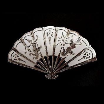 Sale Vintage STERLING Silver Enamel Brooch SIAM Woman Dancers Nielloware Fan Pin Signed c.1950's!