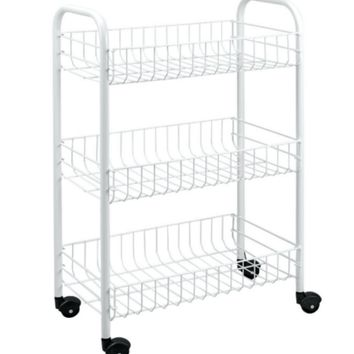 3-Tier Rolling Utility Cart Durable Storage Shelves Home Office Furniture White