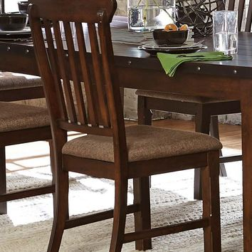 Wood & Fabric Dining Side Chair with curved Slat Back, Burnished Brown, Set of 2