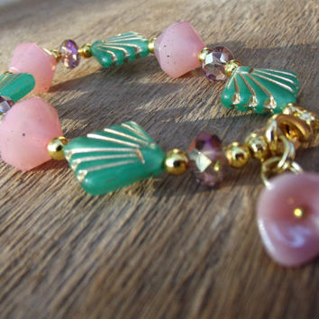 Mint Green and Pink Bracelet:  Art Deco Jade Fan Beaded Jewelry, Peach and Gold