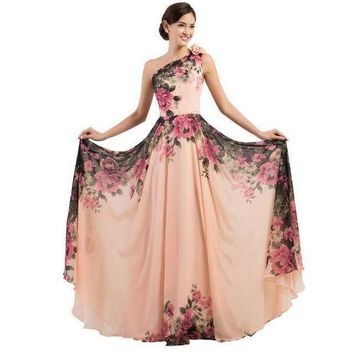 DCCKON3 3 designs Evening Dresses stock one shoulder flower pattern floral print chiffon Evening Dress gown party long promDresses