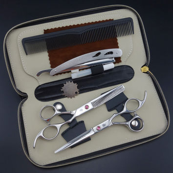 Smith chu Professional  Hairdressing Scissors set 62HRC  Straight & Thinning cutting with comb, clothes ,oil  S017