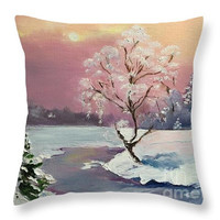 Blue, White Pink Yellow Throw Pillow, Christmas throw pillow pillow Art Pillow, Decorative Pillow Cover, Cushions, Couch Pillow, Sofa Pillow