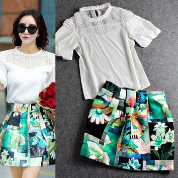 Sheer Mesh Lace Collar Cuff Sleeves Chiffon Top Flowers Butterfly Shorts
