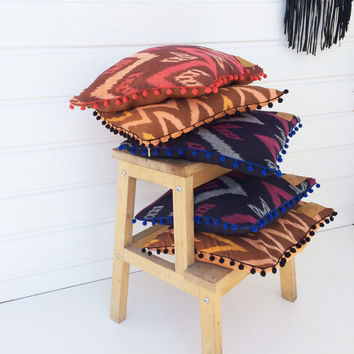 """Ikat Pillow case, square pillow, ikat fabric zigzag design, pillow in ORANGE, PINK and RUSTY brown with pompom trim 16x16"""""""