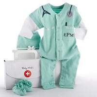 """Baby Aspen BA16010GN """"Big Dreamzzz"""" Baby M.D. Three Piece Layette Set in """"Doctor's Bag"""" Gift Box"""