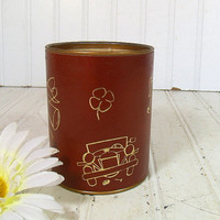 Vintage Brown Leatherette with Gold Tooling Sectional Desk Cup - Retro Round Tin Office Accessory - Shabby Chic Box for Decor & Repurposing