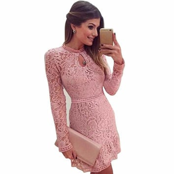 Pink Hollow Out Lace Long Sleeve Slim Dress