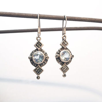 1970s Sterling Silver & Marcasite Deco-Style Earrings