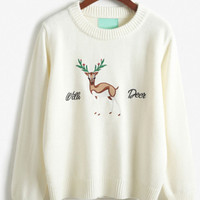 White Elk And Letter Embroidery Knit Sweater