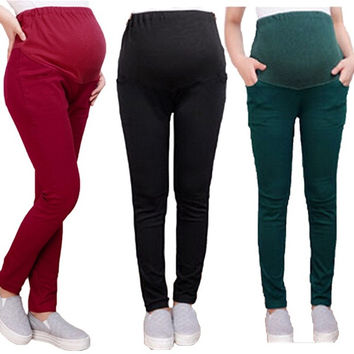 AL-Womens Abdominal Leggings Casual Loose Maternity Pants = 1931833028