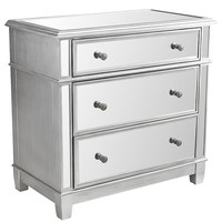 Hayworth Mirrored Silver 3-Drawer Dresser