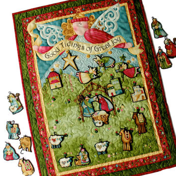 Nativity Advent Calendar  Quilted   Angel Wall Hanging   Religious Holiday Decor  Children's Activity Panel  Baby Jesus Manger  Quilts Quilt