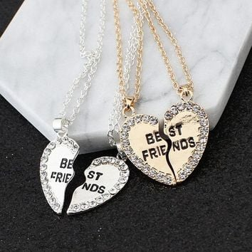 CUTEECO 1 Pair Half Love Heart Rhinestone Best Friends Pendant Necklace Friendship Gift For Couple Colar Kolye Collier Collares