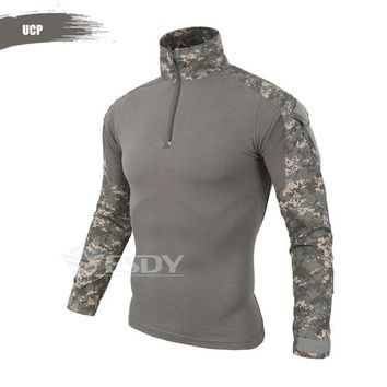 Hiking Shirt camping With Elbow Pad Camouflage Outdoor Hunting Uniform Shirts Men Women Tactical Combat CS Airsoft Paintball Long Sleeve T Shirt Tops KO_17_1