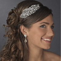 Silver plated vintage inspired bridal headband, Wedding hair accessories