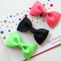 Basic Hairbows Set of 3 in Neon Colors Tuxedo Bow Tie Hairbows Perfect for Toddlers in Shocking PInk Black Acid Green